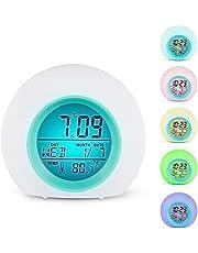 Despertador de Digital LED 7Colores Interruptor y 8melodías para Dormitorio–Clear Backlit Screen y Touch Control de con función de repetición para Pesado schwellen
