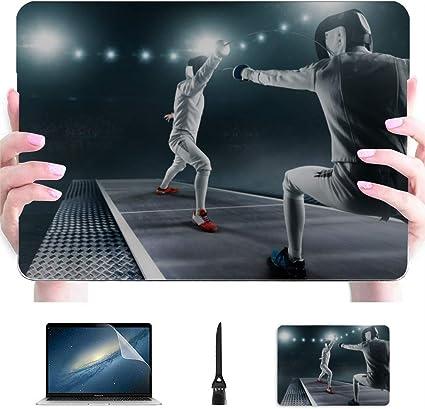 Funda para computadora portátil Mac A Fencing Masked Fencer with Rapier Plastic Hard Shell Compatible Mac Air 13