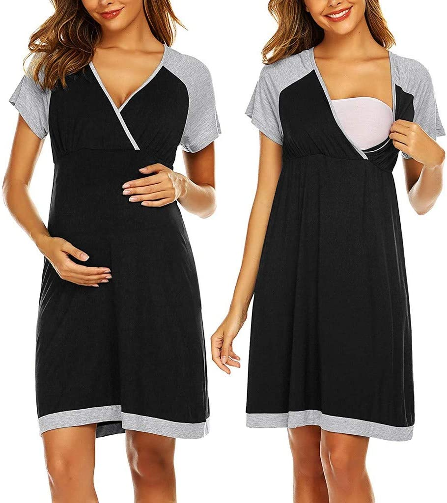 Amazon Com Enjocho Breastfeeding Dresses Maternity Clothes For Pregnant Women Clothing Solid V Neck Pregnancy Dresses Mother Wear Evening Dress Size L Black Office Products