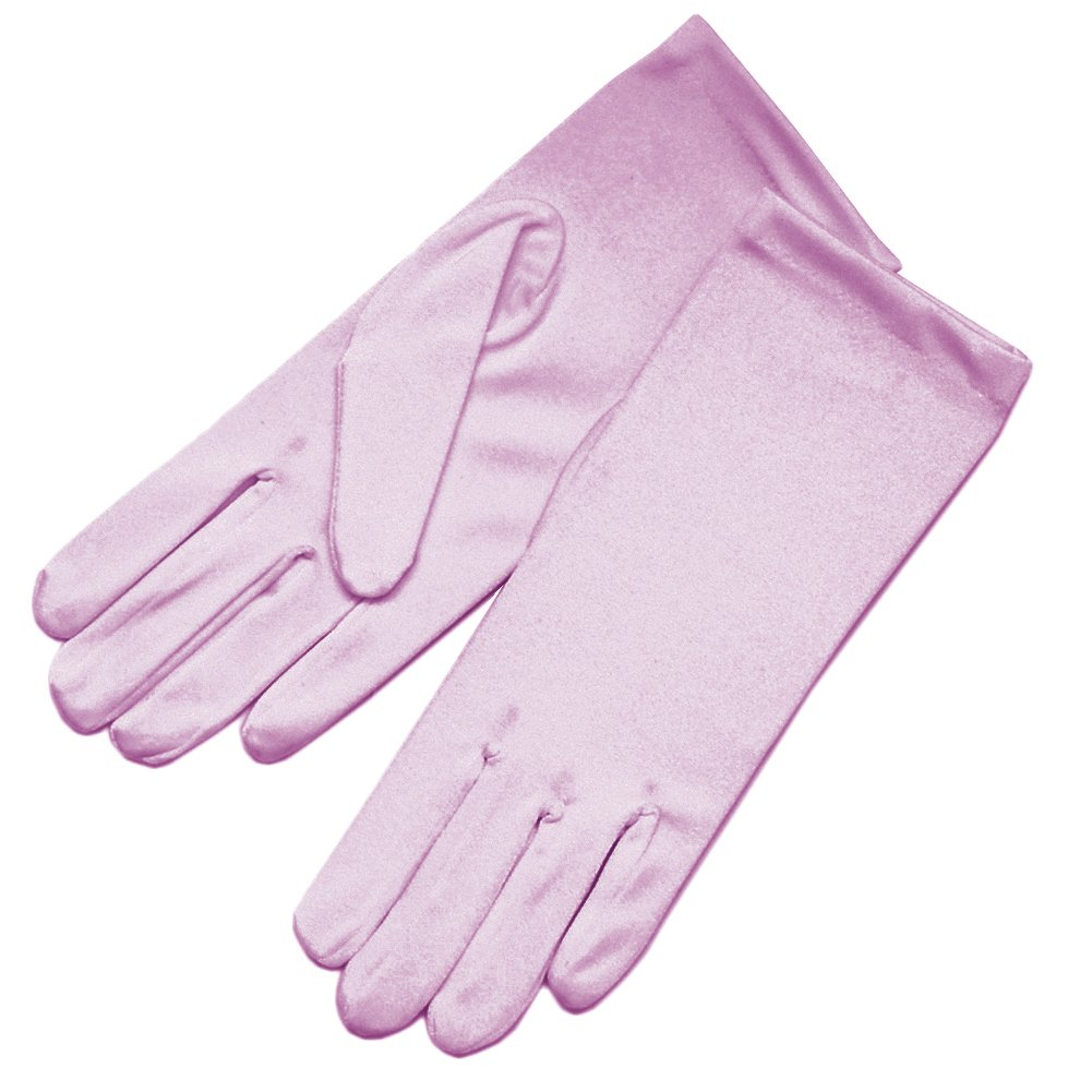 ZaZa Bridal Shiny Stretch Satin Dress Gloves Wrist Length 2BL-Dusty Rose