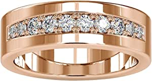 0.55 Ct SGL Certified Diamond Wide Band Ring, Statement Wedding Anniversary Ring, Classic Engagement Ring, Unique Mens Gold Ring, Groom Eternity Ring, 14K Gold
