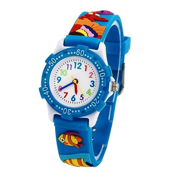 Reloj 3D Analógico Aprendizaje Digital para Niños niñas de Cuarzo Diseño Animal - Sea World Pez - Azul - con caja de regalo: Amazon.es: Relojes