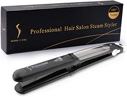 Steam Hair Straighteners, LONGKO 2 in 1 Professional Curling Iron with Ceramic Plate for Hair Straightening and Curling ( FREE Water Tank,2pcs Salon