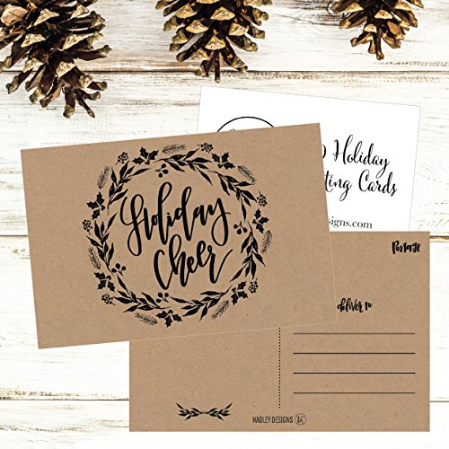 50 Kraft Wreath Holiday Greeting Cards, Cute Fancy Blank Winter Christmas Postcard Set, Bulk Pack of Premium Seasons Greetings Note, Happy New Years for Kids, Business Office or Church Thank You Notes Photo #6