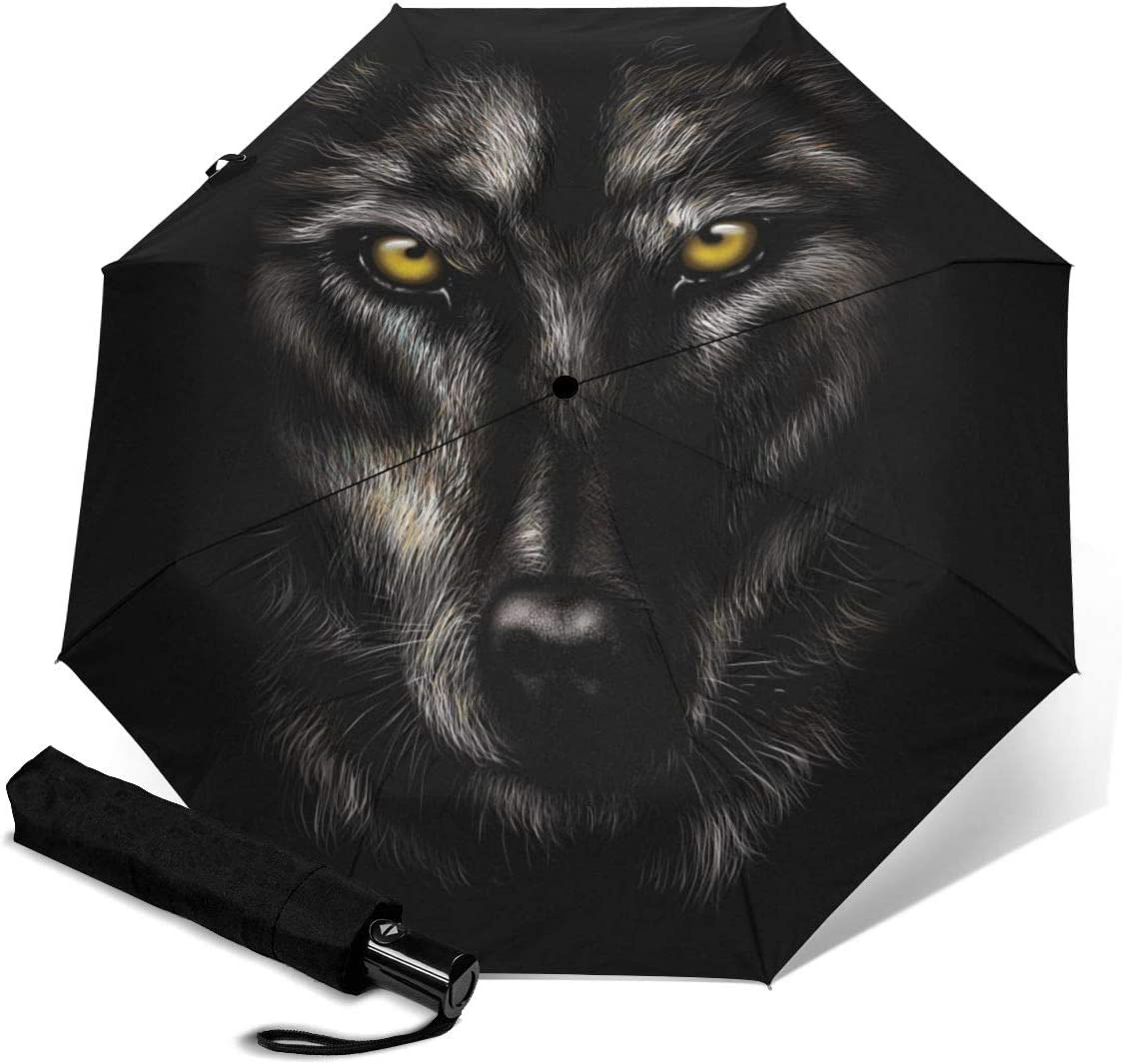 Cool Wolf Automatic Open Folding Compact Travel Umbrellas For Women
