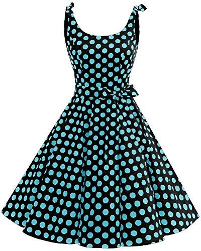 1950's Bbonlinedress 50 Noir Anne Soire Rockabilly Hepburn Vintage Rtro Bleu de Cocktail Audrey Robe qqrEC