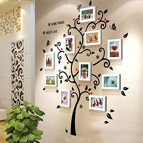 Hty xk Photo Wall Office Wall Stickers Solid Wood Wall Frame Simple Pastoral Small Fresh Living Room Dining Room Wall Decorative Wall (Color : - Sticker Own Luck Your Make