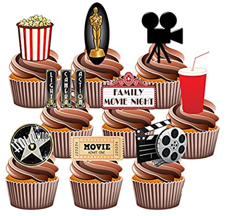 Movie / Film Night Party Pack, 36 Cup Cake Toppers - Edible Stand Up Decorations by AKGifts (Movie Cool Dry Place)