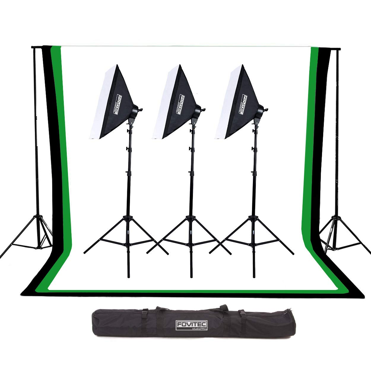 Fovitec - 6'x9' Muslin Backdrop Studio Kit with Backdrop Stands, Softboxes, & Carrying Case for Photo & Video by FOVITEC