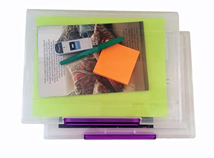 Set Of 2 Document Cases, File Organizers, Storage Containers W/ Snap Lock  Latches