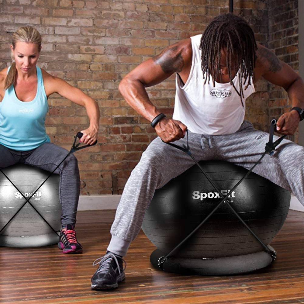 Exercise Ball Chair with Resistance Bands