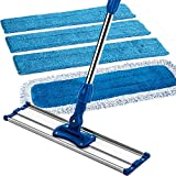 Zflow 18'' Professional Microfiber Mop - Commercial Stainless Steel Handle With Microfiber Dust Pad + 3 Microfiber Wet Pads