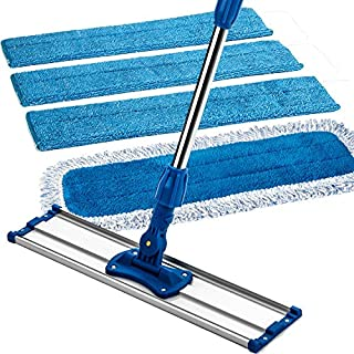 "Zflow 18"" Professional Microfiber Mop - Commercial Stainless Steel Handle with Microfiber Dust Pad + 3 Microfiber Wet Pads"