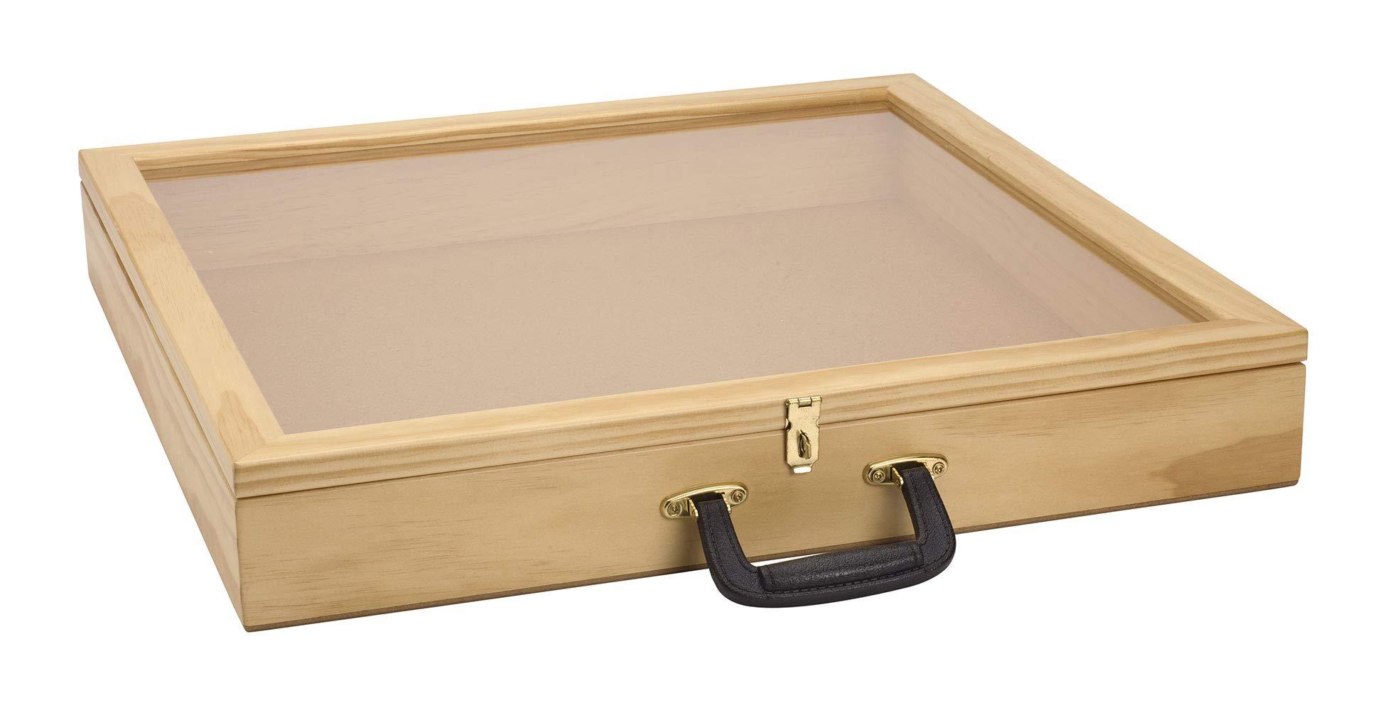 SSWBasics 24 inch Portable Natural Pine Wood Countertop Display Case - 24'' W x 24'' L x 3'' D by SSWBasics