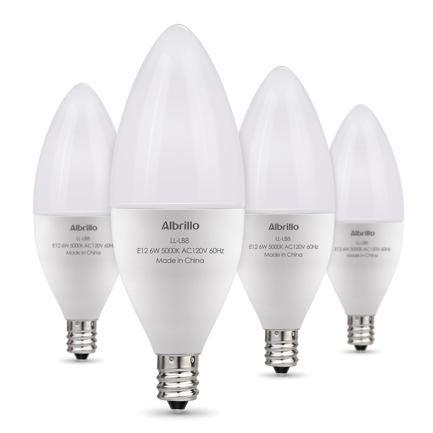 Albrillo E12 Bulb Candelabra LED Bulbs, 60 Watt Equivalent, Daylight White 5000K LED Chandelier Bulbs, Candelabra Base, Non-Dimmable LED Lamp, 4 Pack