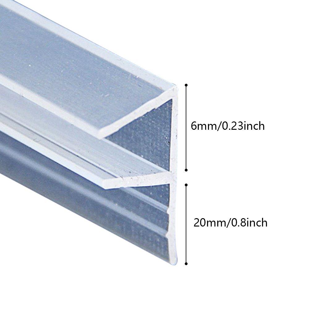 Godagoda Joint de Porte de Douche de Fen/être sans Cadre en Forme de F Joint d/Étanch/éit/é en Caoutchouc pour Verre de 6mm//8mm//10mm//12mm