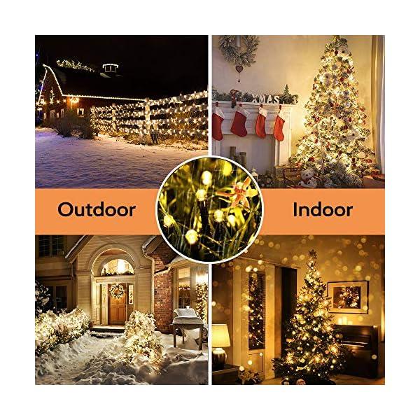 Qedertek Catena Luminosa, Cavo trasparente, Luci Stringa 23 Metri 200 LED, Addobbi Natalizi per Albero di Natale, Luce Natalizie per Decorazione Interno (Bianca Calda) 5 spesavip