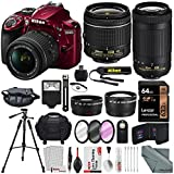 Nikon D3400 with AF-P DX NIKKOR 18-55mm f/3.5-5.6G VR (Red) + Nikon AF-P DX NIKKOR 70-300mm f/4.5-6.3G ED Lens + 64GB, Deluxe Accessory Bundle and Xpix Cleaning Accessories