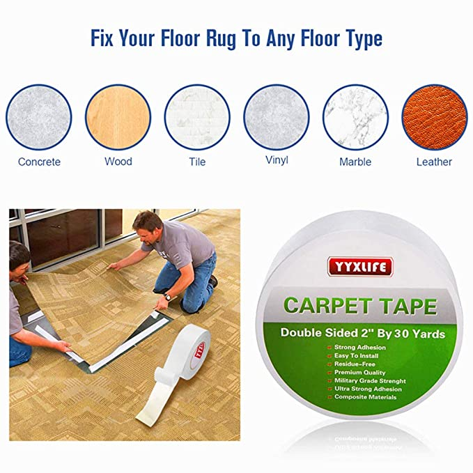 Yyxlife Double Sided Carpet Tape For Area Rugs Carpet Adhesive Rug