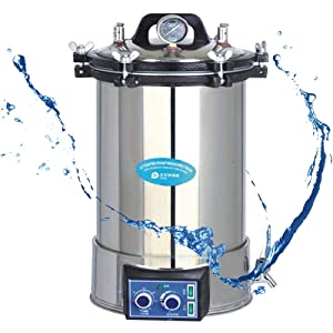 Global Sterilizer 24L Portable Timer High Pressure High Temperature Steam Stainless Steel Pressure Cooker Autoclave Sterilizer Disinfection Stainless Steel Electric Heated