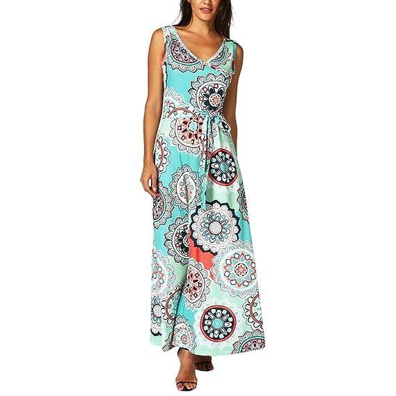 Sommerkleider, Longra Damen Mode Strandkleider Boho Lange Kleid Ärmellos  Maxikleider mit Retro Blumendrucken Frauen Elegant b6bba8c598