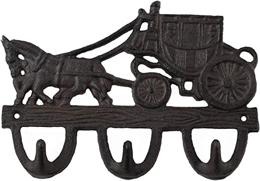 Cast Iron STAGECOACH Towel Hanger Coat Hooks Hat Hook KEY Rack Western  COWBOY