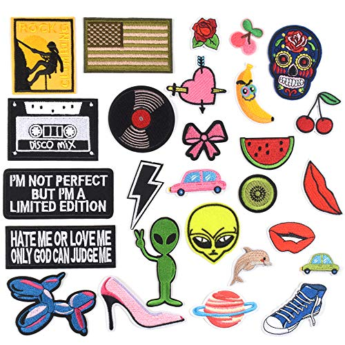 J.CARP Cool Embroidered Iron on Patches, Cute Sewing Applique for Clothes Dress, Music Theme 27PCS