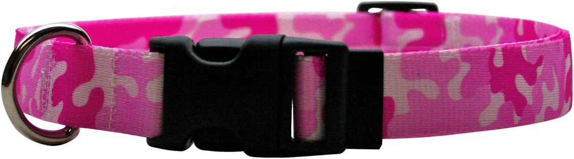 One Size Fits All Yellow Dog Design Camo Pink Break Away Cat Collar