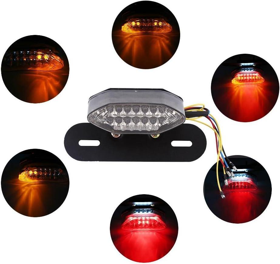 Acouto 16-LED Moto Queue Clignotant Plaque dImmatriculation de Frein Feu Int/égr/é 12V Quad ATV gray