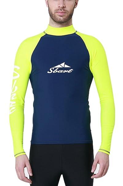 a1f93ed82d54 Sbart - Camiseta con Manga Larga para Hombre Traje para Bueco Playa  Natación Snorkeling Protección UV Térmico
