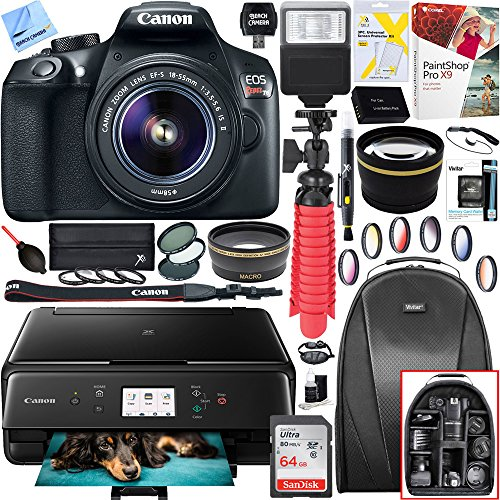 Canon EOS Rebel T6 Digital SLR Camera with EF-S 18-55mm IS II Lens and Canon Pixma MG3620 Wireless Inkjet All-In-One Multifunction Photo Printer 64GB Accessory (Digital Camera Jet)