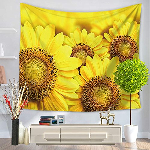 Sunflower Tapestry Wall Hanging Nature Flower Tapestry Bright Golden Wall Decor for Bedroom Living Room Dorm Decor 79X59 Inch