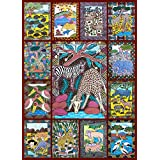 African Animals Jigsaw Puzzle - 1000 Piece - Bright, Colorful Adult Puzzle featuring Wild Animals & Zimbabwe Wall Art by Hennessy Puzzles - Portion of Proceeds Supports Zimbabwean Artists - Made in USA