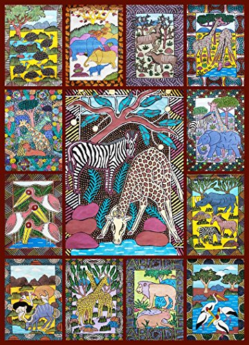 African Animals Jigsaw Puzzle - 1000 Piece - Bright, Colorful Puzzle featuring Wild Animals & Zimbabwe Wall Art by Hennessy Puzzles - Portion of Proceeds Supports Zimbabwean Artists - Made in USA (African Puzzle)