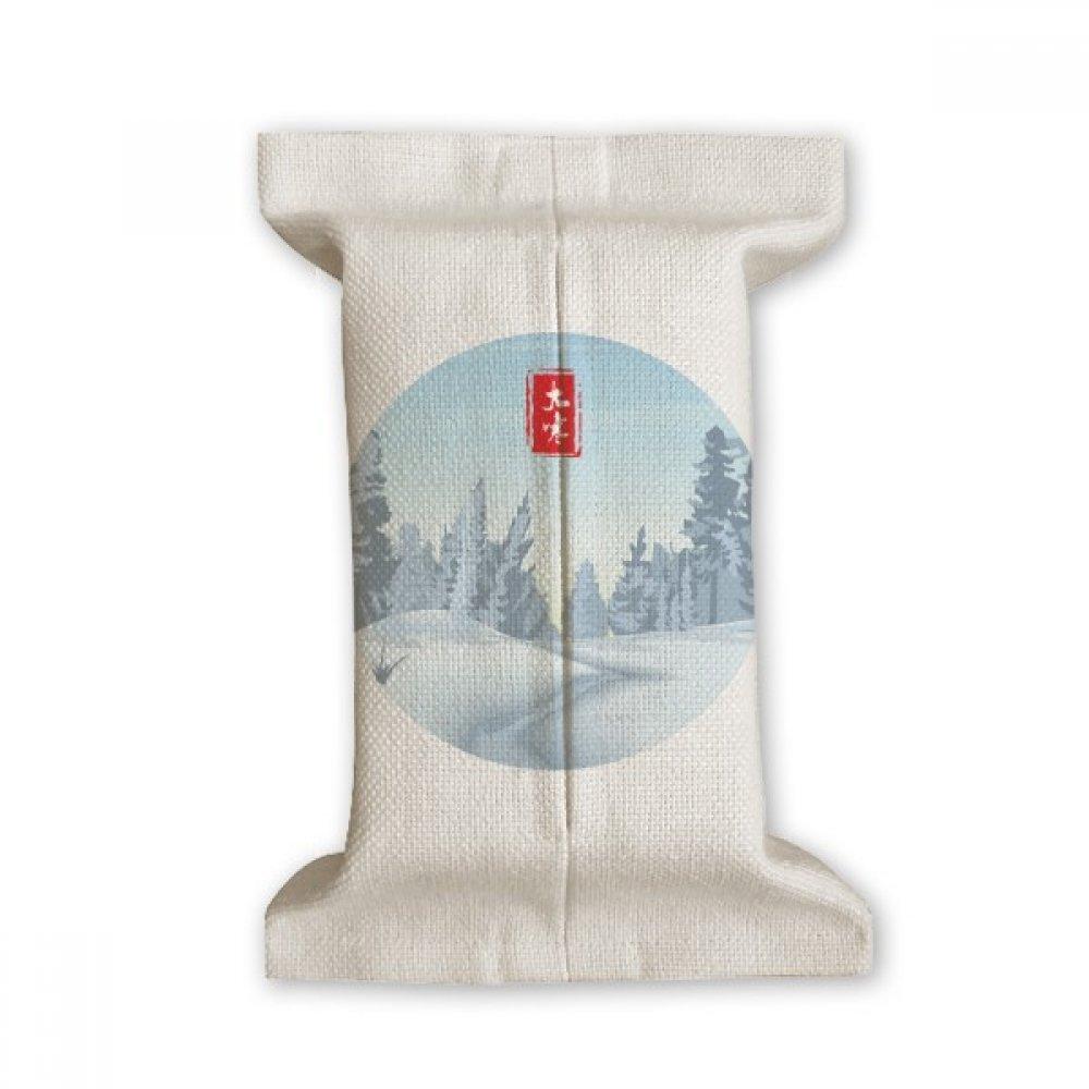 DIYthinker Circular Great Cold Twenty Four Solar Term Tissue Paper Cover Cotton Linen Holder Storage Container Gift