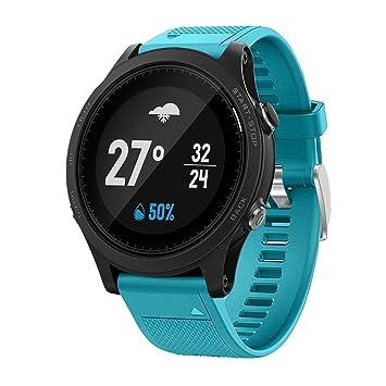 Jintime Correa de repuesto para reloj Garmin Forerunner 935 GPS de silicona suave de liberación rápida (135 - 225 mm), azul celeste: Amazon.es: Deportes y ...