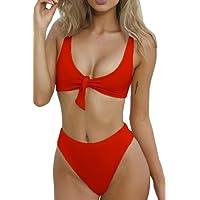 QINSEN Two Pieces Beachwear Women Tie Knot Front Decoration High Cut Thong Bikini Suit Red S