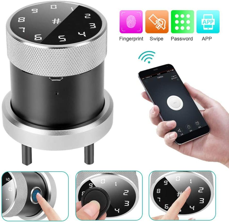 Rosvola Fingerprint Sphere Door Lock Smart Anti-Theft Keyless Password Wireless APP Security System for Office Home