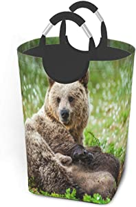 Collapsible Laundry Baskets Large Marvellous Brown Cute Bear Animal Dirty Clothes Laundry Hamper Dorm Fabric Fold Laundry Baskets W/Handles Rectangle Storage Bins For Kids Baby Girl Camp Travel 50l