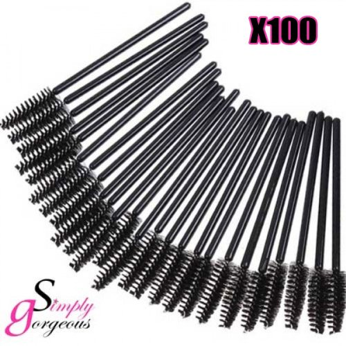 100 X Simply Gorgeous Disposable Eyelash Mini Brush Mascara Wands Applicator