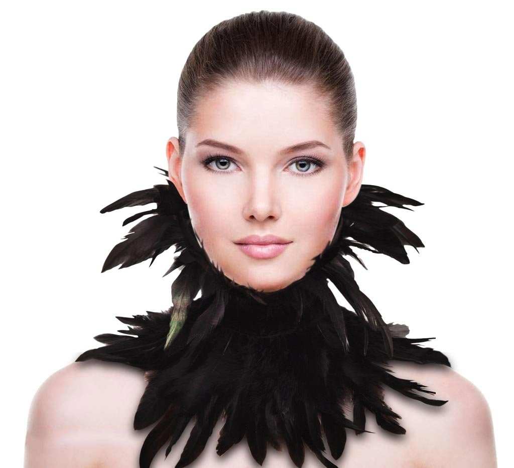 ZAKIA Gothic Natural Real Feather Choker Necklace Neck Wrap Collar Halloween Accessory (Black)