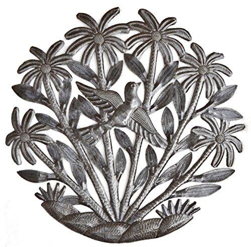 """Decorative Metal Tree with Birds, Indoor or Outdoor garden decor, Handmade in Haiti 15"""" X 15"""""""