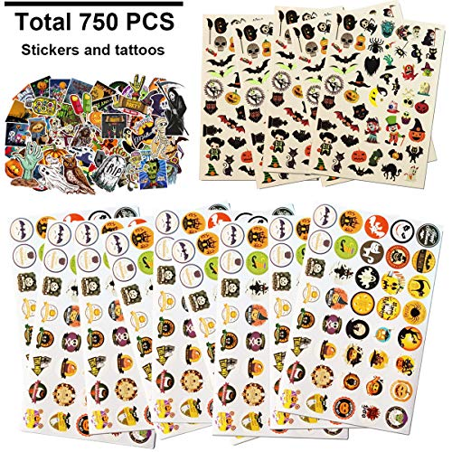 H Harlerbo 750 Pieces Halloween Craft Assortment Kit, Assorted Halloween Temporary Tattoos, Halloween Decals, Halloween Round Stickers, for Halloween Party Favors