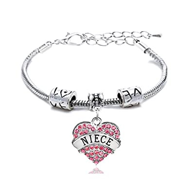 Gift for Girl Silver Alloy Pink Crystal Love Heart Niece Charm Pendant Bracelet Family Bangle Adjustable bywGAONS0X