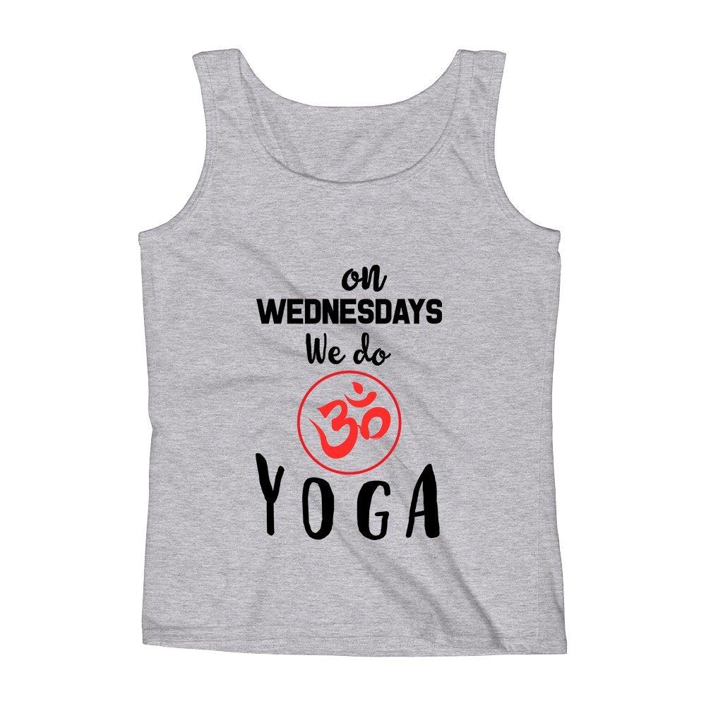 Mad Over Shirts on Wednesdays We Do Yoga Unisex Premium Tank Top