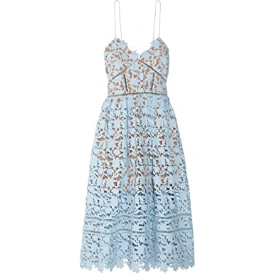 8f7c3cce1d22 Image Unavailable. Image not available for. Color: Self Portrait Azaelea  Blue Lace Midi Dress