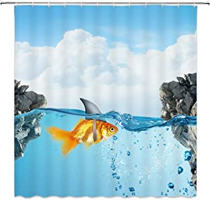AMHNF Fish Shower Curtain Goldfish Shark Fin Blue Black Rock Sky White Clouds Bathroom Decor Accessories Simple Personality Polyester Fabric Waterproof Curtains 70x70inches