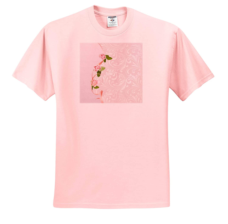 Adult T-Shirt XL Image of Pink Roses on Ribbon on Elegant Design 3dRose Beverly Turner Flora Design ts/_313362