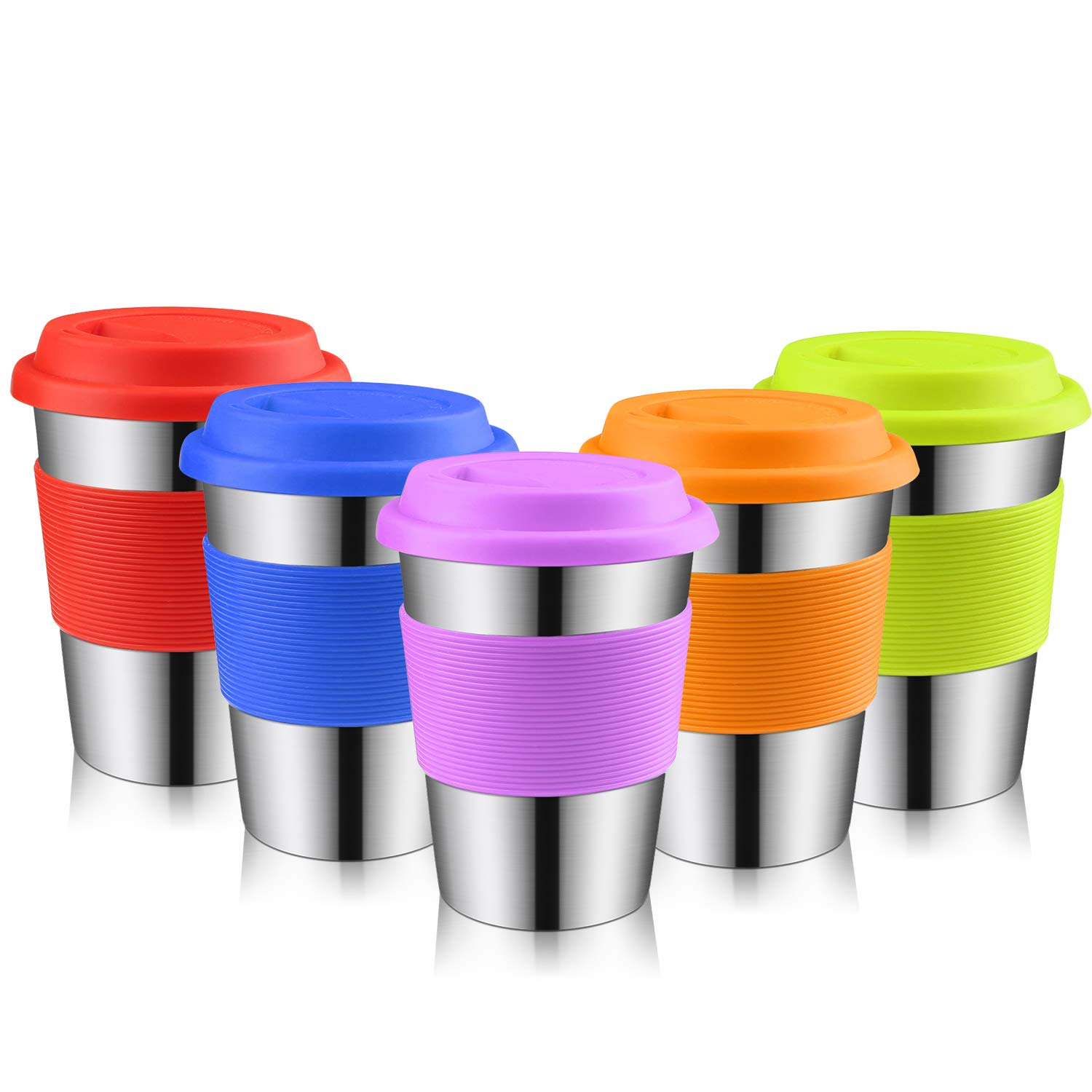 Auranso Food-Grade Stainless Steel Cup, 350ml 12oz Kids Tumbler with Sleeves & Lids BPA-Free Lead-Free Stackable Travel Mug for Child Adult Camping Hiking Indoor & Outdoor Use (5-Pack)