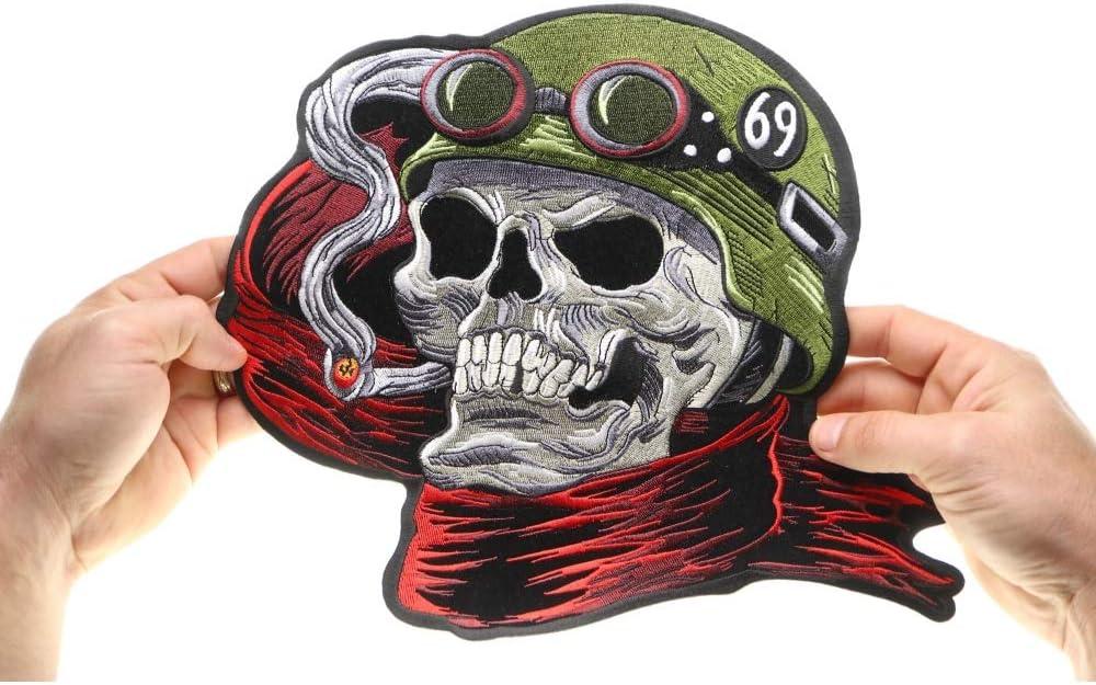 Skull Patch XL Back Patch Badge 666 Ace of Spades Biker Cowl Aufbügler